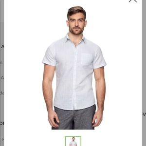 Linen blend button down shirt